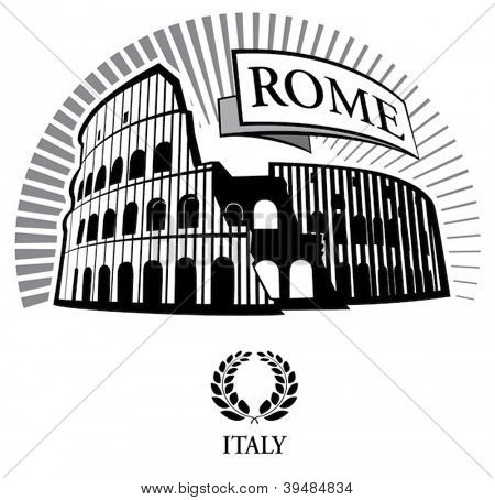 Coliseum. Vector illustration in the engraving style