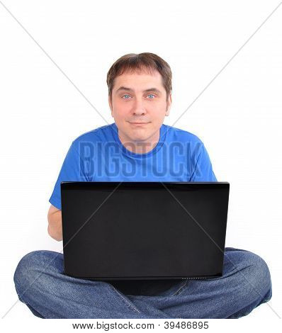 Internet Computer Man Sitting On White