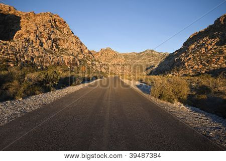 Sunrise light highway at Red Rock National Conservation Area in Southern Nevada's mojave desert.