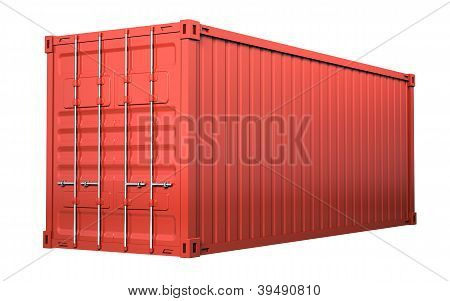 Red Cargo Container - Isolated On White Background
