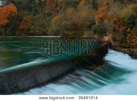 Weirs on river in Fontaine-de-Vaucluse, France