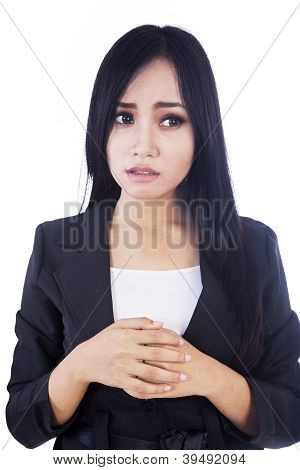 Afraid Businesswoman Isolated In White
