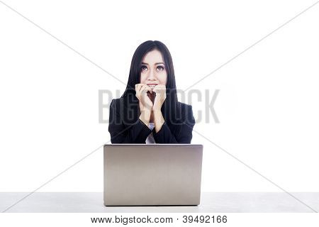 Afraid Businesswoman With Laptop Isolated Over White