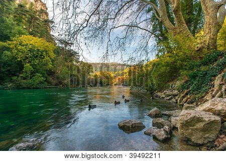 Beautiful river in Fontaine-de-Vaucluse, France