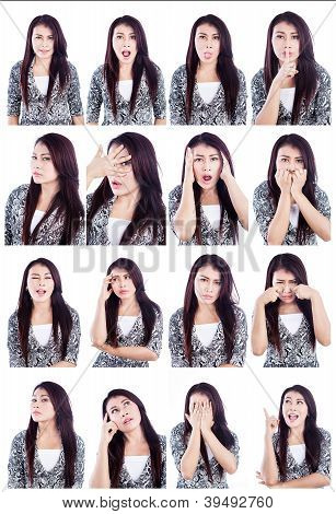 Asian Woman Useful Faces Isolated Over White