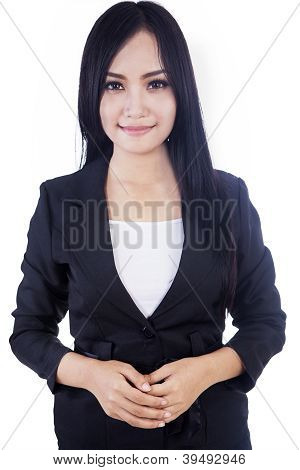 Attractive Businesswoman Isolated In White