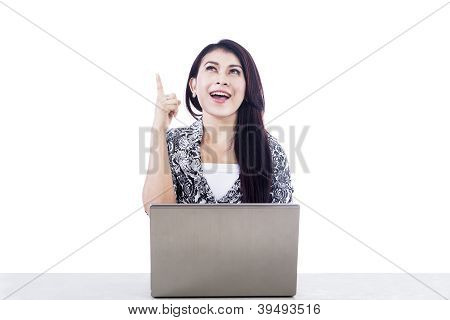 Beautiful Woman With Laptop Isolated Over White