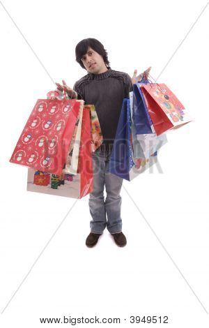 Young Man Full Of Christmas Gifts