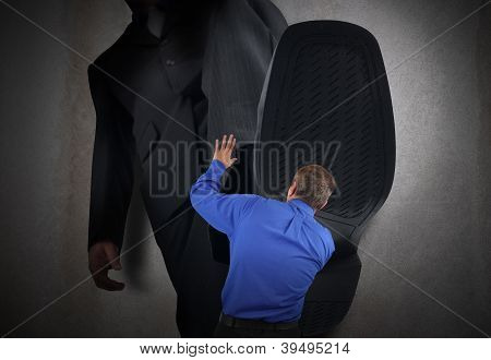 Small Business Man Fear Stepped On