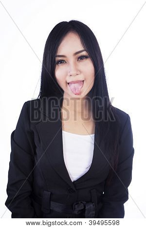 Cheeky Business Woman Isolated In White