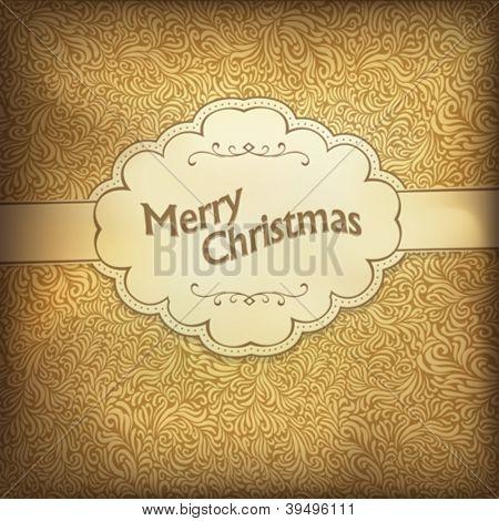 Vintage Weihnachtskarte in goldener Farbskala. Vektor-Illustration, EPS10.