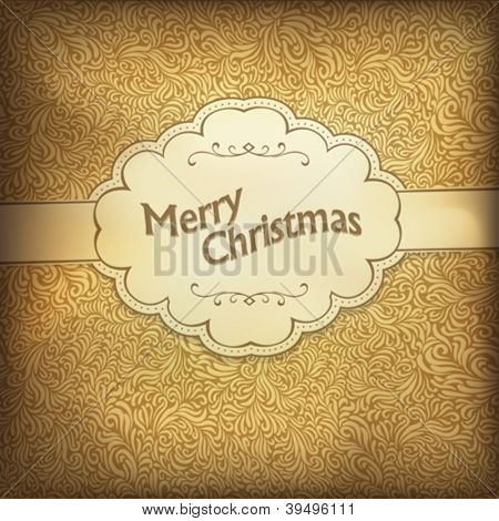 Vintage Christmas card in golden gamut. Vector illustration, EPS10.