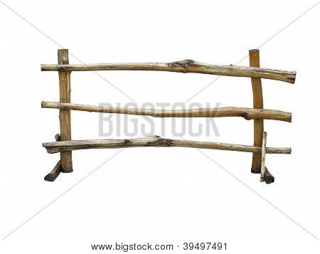 Wooden Fence At Ranch Isolated Over White
