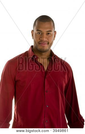 Handsome Black Man In Red Shirt