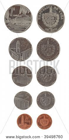 Cuban convertible peso coins isolated on white