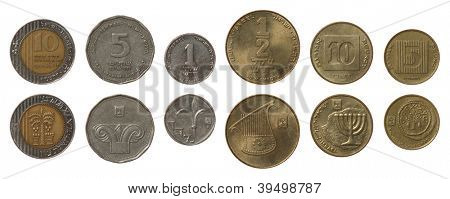Israeli new shekel coins isolated on white