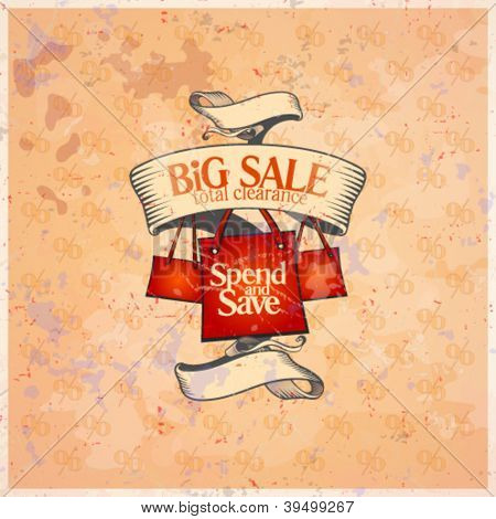 Big sale retro design template with shopping bags. Eps10.