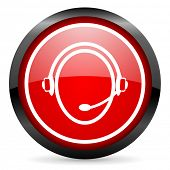 customer service round red glossy icon on white background