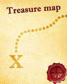 stock photo of treasure map  - treasure map with a vintage touch upon it - JPG