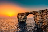 picture of gozo  - The Azure Window in Malta at Sunset - JPG