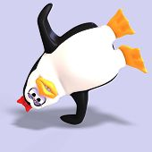 stock photo of growler  - cute female toon penguin with Clipping Path over blue - JPG