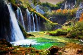 picture of crystal clear  - Waterfall in forest - JPG