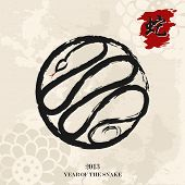 picture of chinese new year 2013  - 2013 Chinese New Year of the Snake calligraphy brush style illustration - JPG