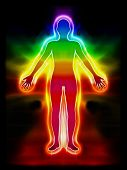 stock photo of aura  - Illustration of the chakras energy body aura - JPG