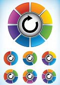 pic of number 7  - Set of seven wheel diagrams with different colors and numbers of divisions or components with a central directional flow arrow to be used as a business presentation template - JPG