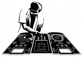 foto of disc jockey  - Disk jockey in black silhouette - JPG