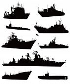 stock photo of cold-war  - High detailed military ship  silhouettes  set - JPG