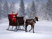 stock photo of sleigh ride  - A reindeer pulling a sleigh with a smiling and waving Santa Claus in it - JPG