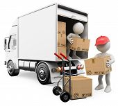 stock photo of hand truck  - 3d white persons unloading boxes from a truck to a hand truck - JPG