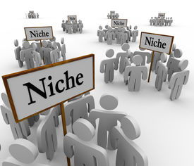 foto of segregation  - Several groups of people in niche markets gathered around signs gathering them into niches - JPG