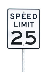 foto of mph  - Speed Limit 25 Mph Sign Isolated On White Background - JPG