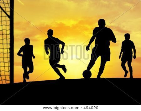 Soccer Playing (Sunset)