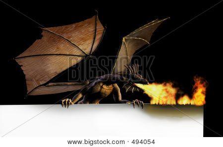 Dragon Burning Sign Edge - On Black