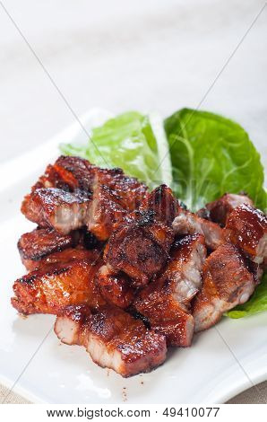 grilled barbecue pork belly with rice