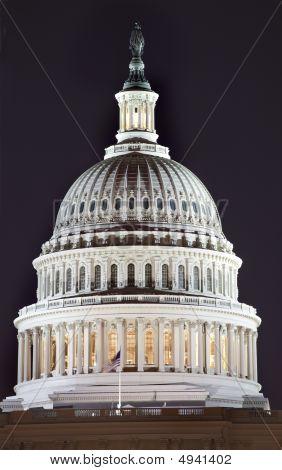 Us Capitol Dome Close Up Night Washington Dc