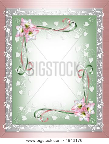 Shabby Chic Pink Flower Border On Satin