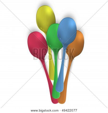 Collection Of Colorful Spoons Over White Background. Vector Design.