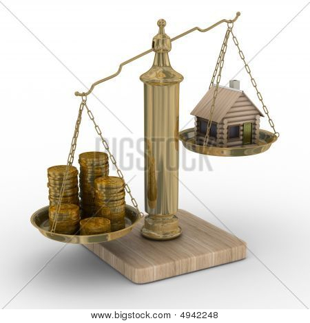 House And Cashes On Weights. Isolated 3D Image
