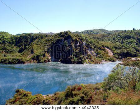 Geothermal Vents And Lake At Waimangu Rotorua New Zealand