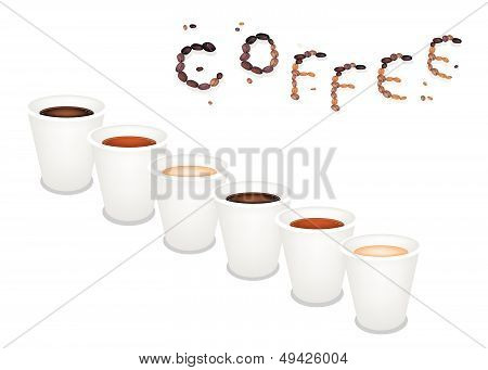 Six Kind Of Coffee In Disposable Cup