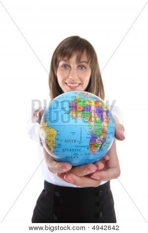 Business Woman With Globe