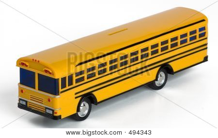 Plastic Yellow Toy School Bus Money Bank