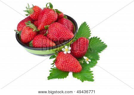 strawberry in green bowl