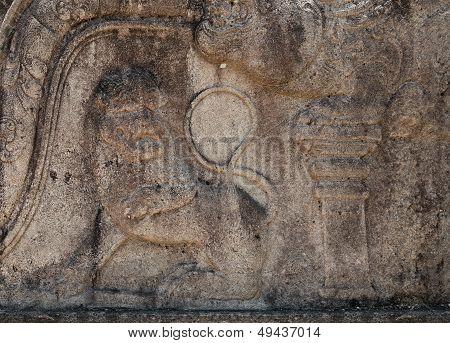 Ancient Lion Stone Carving In Polonnaruwa, Sri Lanka