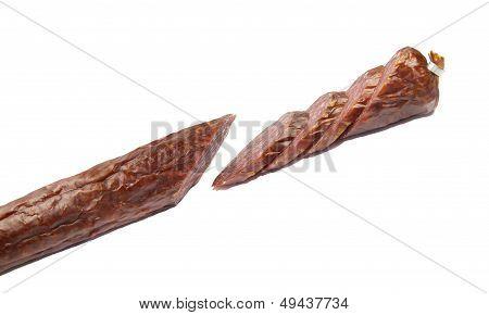 sliced cervelat isolated