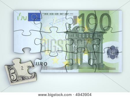 100 Euro Note Puzzle And Dollar Piece